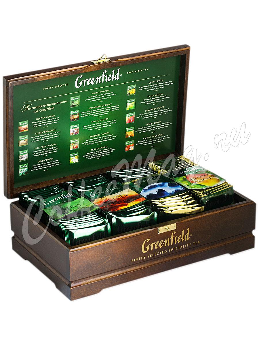 Подарочный набор Greenfield в пакетиках деревянная шкатулка