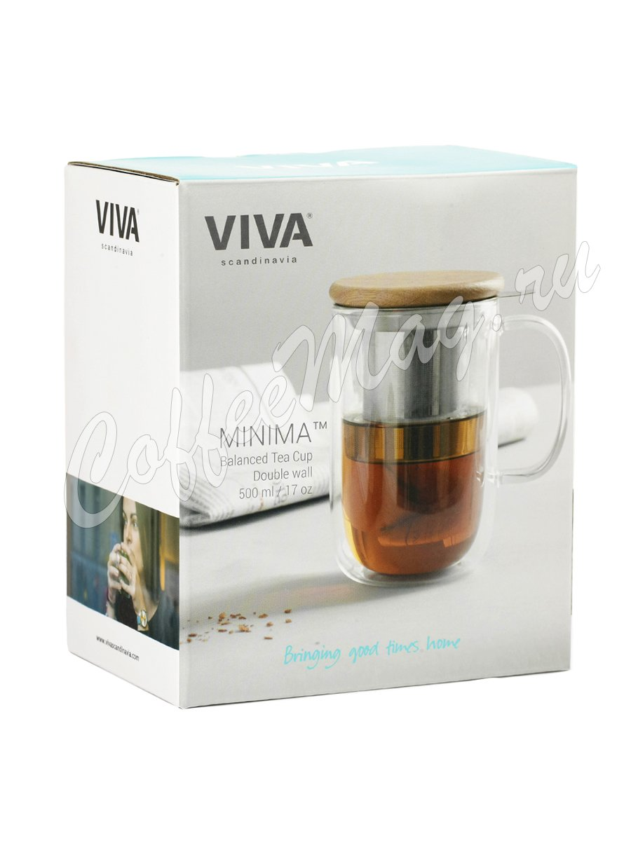 VIVA MINIMA Термокружка с ситечком 0,5 л (V75300) Прозрачное стекло