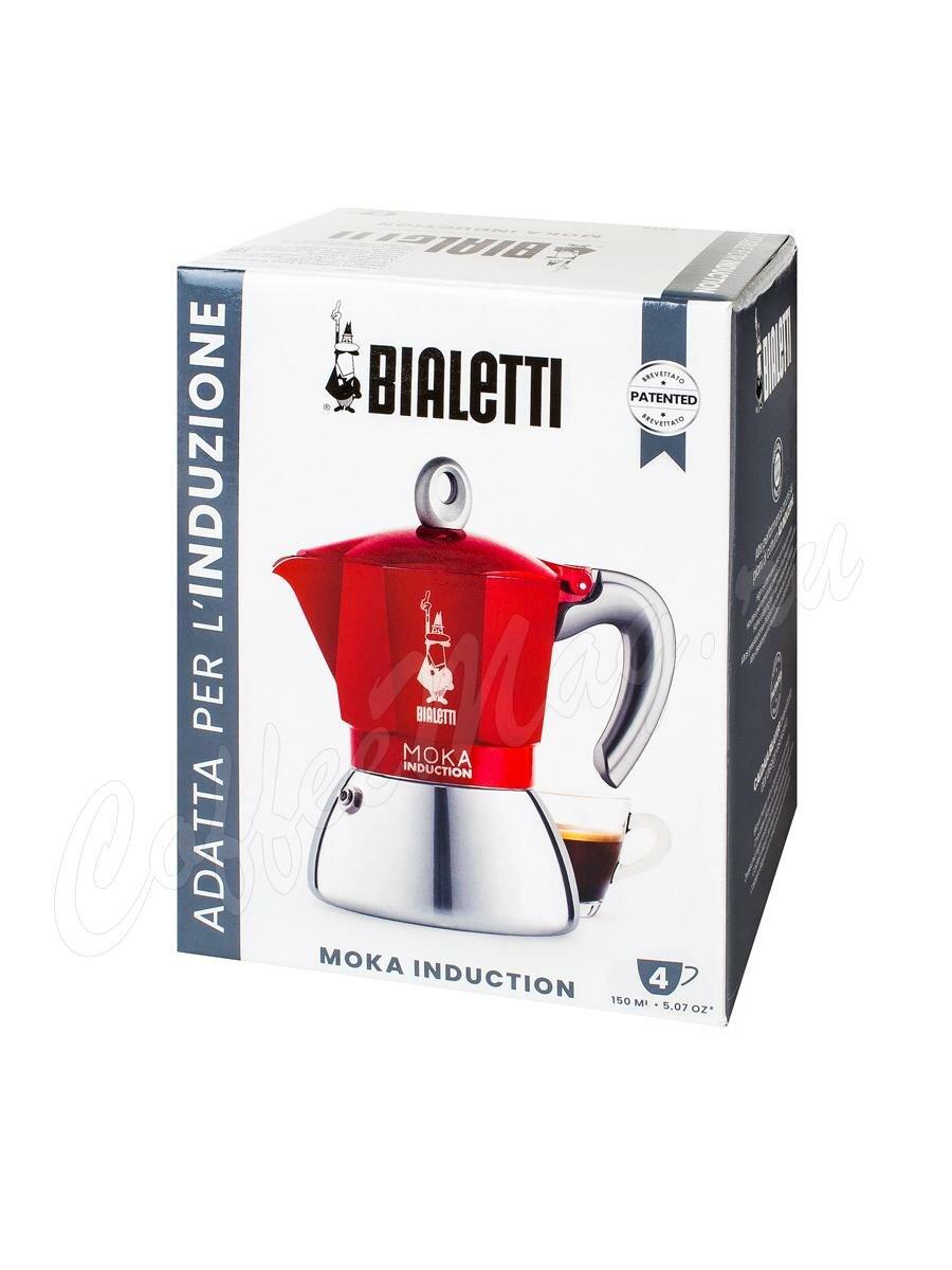 Гейзерная кофеварка Bialetti Moka Induction Красная 150 мл 4 порций (6944)