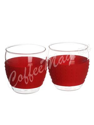 Чашка стеклянная с силиконовой накладкой комплект по 180 мл