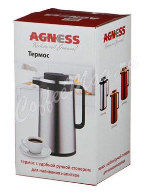 Термос Agness со стеклянной колбой и ручкой-стопером 1.3 л