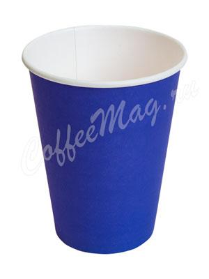 Стакан бумажный однослойный 300 мл синий