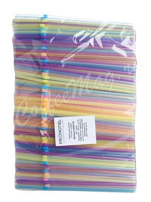 Трубочки со сгибом неоновые Prohotel L=21cм D=0.5 разноцветные