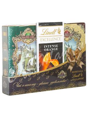Basilur Чайная книга Том 2 и 3 по 75 гр и Lindt шоколад 100 гр