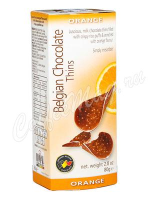 Шоколадные чипсы Belgian Chocolate Thins Апельсин 80 гр
