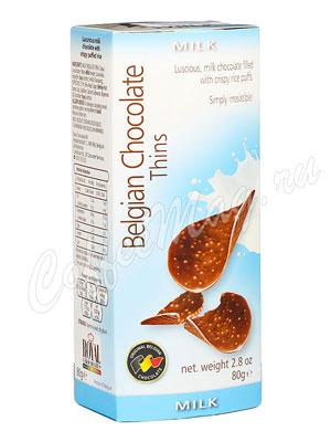 Шоколадные чипсы Belgian Chocolate Thins Молочный 80 гр