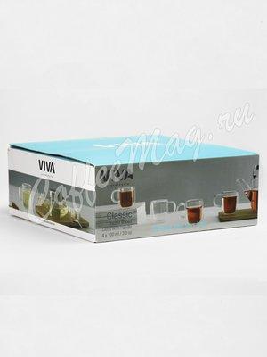 VIVA CLASSIC Термокружка (комплект 4 шт) 0,1 л (V75000) Прозрачное стекло