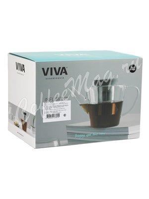 VIVA INFUSION Чайник заварочный с ситечком 1 л (V27801) Прозрачное стекло с черной крышкой