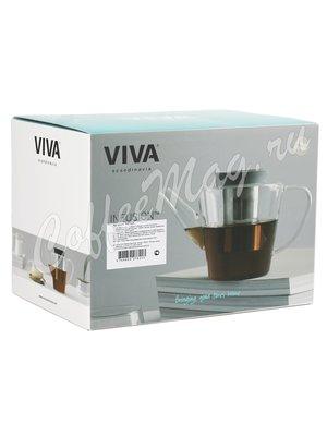 VIVA INFUSION Чайник заварочный с ситечком 1 л (V27821) Прозрачное стекло с крышкой хаки