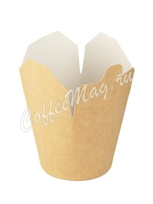 Бумажный контейнер чайна-бокс Крафт, круглое дно 500 мл 103*84*97 (30шт)