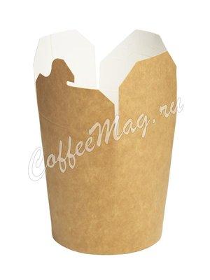 Бумажный контейнер чайна-бокс Крафт, круглое дно 700 мл 138*94*98 (50шт)