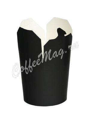 Бумажный контейнер чайна-бокс Черный, круглое дно 500 мл 103*84*97 (30шт)