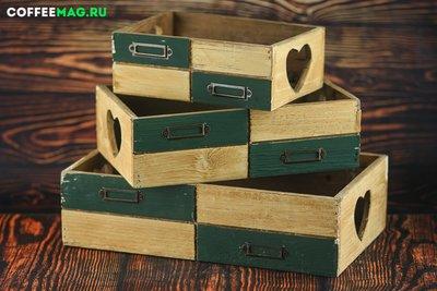 Ящик бежево-зеленый 35х21х9 большой