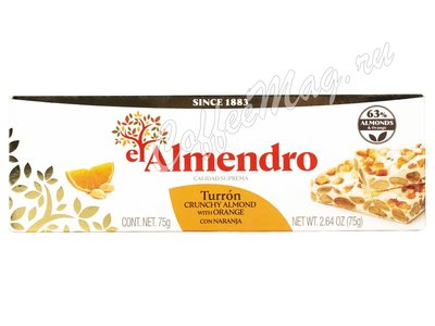 El Almendro  Хрустящий миндальный туррон с апельсином 75 г