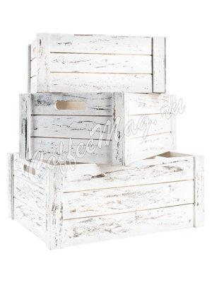 Ящик деревянный белый, малый