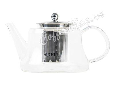 Чайник заварочный Kelly KL-3038, стекло с металлическим ситом 1,1 л.