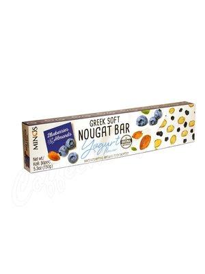 Мягкая нуга Minos с йогуртом, черникой и миндалем 150 гр