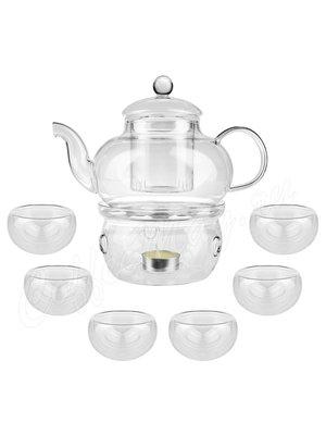 Чайный набор на 6 персон, чайник 800 мл+6 чашек (250-115)