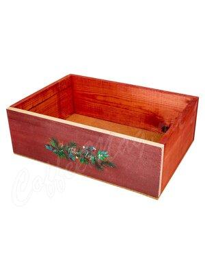 Ящик деревянный красный С новым годом 30*20
