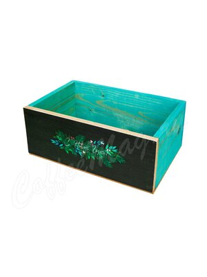 Ящик деревянный черно-бирюзовый С новым годом 25*16