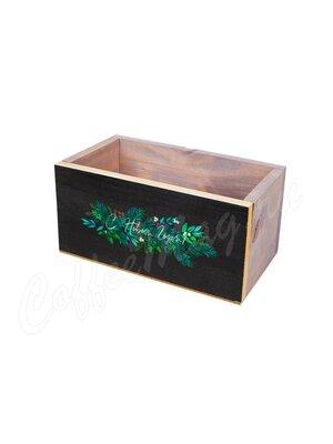 Ящик деревянный черно-серый С новым годом 20*10