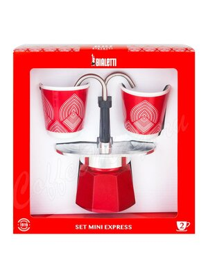 Bialetti Mini Express Набор Гейзерная кофеварка и 2 чашки
