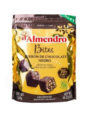 El Almendro Шоколадный туррон из горького шоколада кубики 120 г