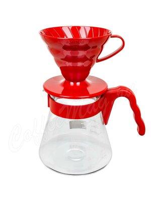 Hario Набор для заваривания кофе Чайник + воронка 700 мл Красный (VCSD-02R)