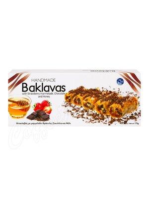 Греческая пахлава Minos (Baklavas) с медом, клубничный мармелад, шоколад 175 г