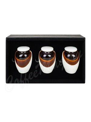 Коробка кожаная подарочная 3 керамические банки, черная