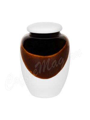 Коробка чёрная кожаная подарочная 3 керамические банки