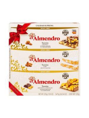 El Almendro Набор ассорти из 3 видов туррона, подарочная упаковка 225 г
