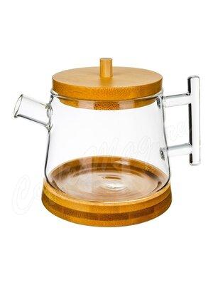 Чайник с бамбуковой подставкой и крышкой 500 мл (37TP03)
