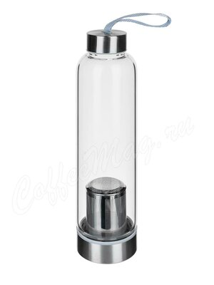 Бутылка походная с металлическим ситом стекло 550 мл (KH672)