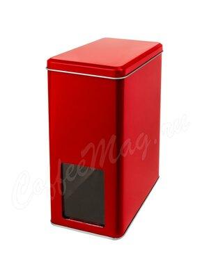 Банка Gutenberg для хранения чая  красного цвета с окошком на 1 кг