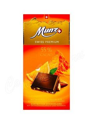 Munz Горький шоколад 55% CACAO с апельсином и миндалем 100 г