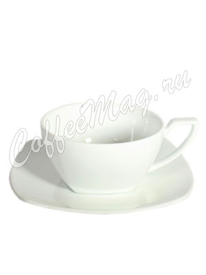 Чайная пара фарфоровая квадратная 150 мл