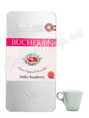 Шоколад Bucheron молочный с малиной 100 гр в мет. пенале