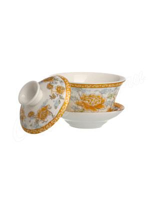 Фарфоровая пиала с крышкой (Золотая хризантема) 150 мл