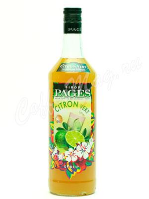 Сироп Pages Зеленый лимон 1 литр