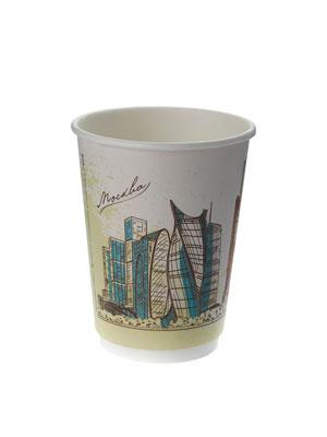 Стакан бумажный Thermo Cup двухслойный 300 мл Города