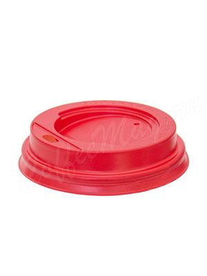 Крышка для бумажных стаканов с питейником 90 мм (Красная)