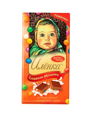 Шоколад Красный Октябрь Аленка молочный с разноцветным драже   100 гр