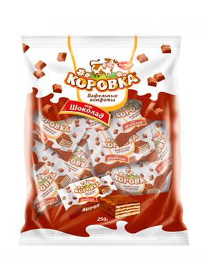Конфеты Рот Фронт вафельные Коровка вкус Шоколад фас. 250 гр