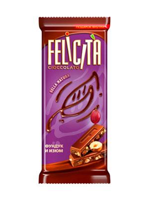 Шоколад Русский шоколад Молочный Felicita Bella Natura фундук и изюм 90 гр