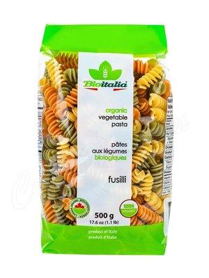 Макаронные изделия Bioitalia Organic Fusilli Tricolore Спирали с томатами и шпинатом 500 г